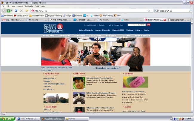 my portrait featured on rmu's homepage